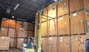 Fork lift loading in the warehouse