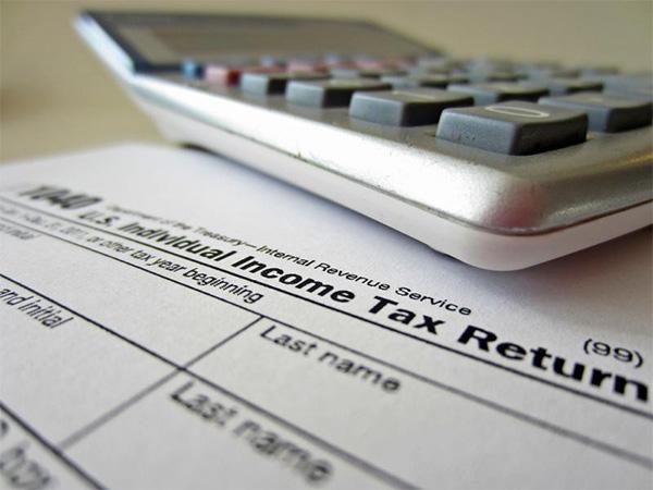 tax calculator on desk