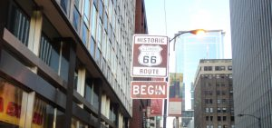 route 66 begin sign