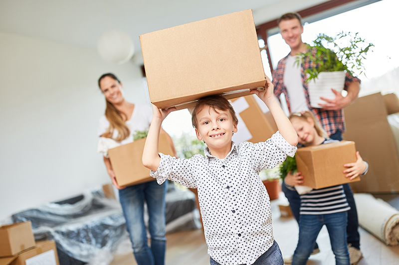 kids with boxes